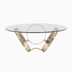Vintage Three-Ring Chrome & Glass Coffee Table, 1970s