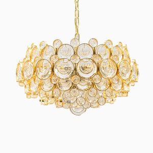 Lámpara de araña de cristal dorado de Gaetano Sciolari para Palwa, años 60