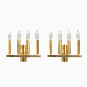 Lámparas de pared doradas, años 60. Juego de 2