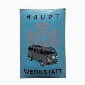 Vintage VW Volkswagen Werbeschild aus Emaille