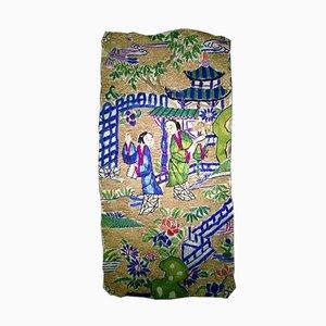 Bordado chino antiguo pequeño de seda