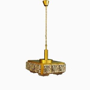 Mid-Century Glass & Brass Pendant from Boréns