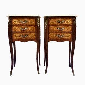 Tables de Chevet Vintage en Marbre, Set de 2