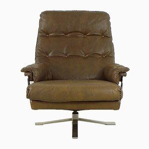 Brauner Vintage Sessel aus Leder & Chrom von Arne Norell für Vatne