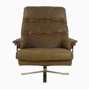 Vintage Brown Leather and Chrome Lounge Chair by Arne Norell for Vatne
