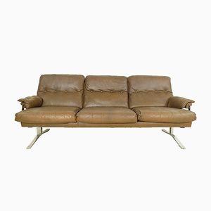 Canapé 3-Places Vintage en Cuir Marron & Chrome par Arne Norell pour Vatne