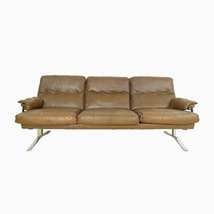 Vintage Brown Leather and Chrome 3-Seater Sofa by Arne Norell for Vatne