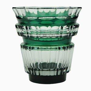 Art Deco Bolero Vase aus grünem Glas von Charles Graffart für Val Saint Lambert, 1940er