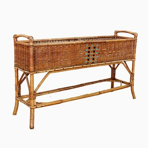 Vintage Rattan and Wicker Planter