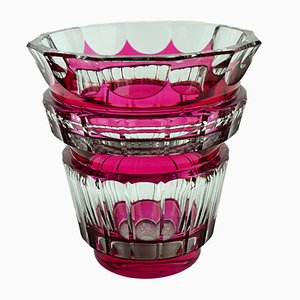 Art Deco Bolero Vase aus rotem Glas von Charles Graffart für Val Saint Lambert, 1940er
