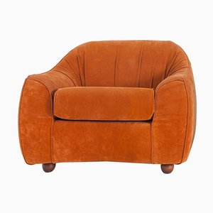 Mid-century Italian Orange Suede Easy Chair