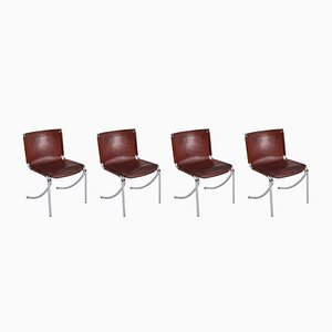 Model Jot Vintage Leather & Chrome Dining Chairs by Giotto Stoppino for Acerbis, Set of 4