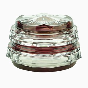 Art Deco Glass Sweet Box Bonbonniere from Val Saint Lambert, 1930s