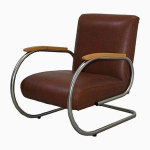 Vintage Stuhl mit vernickeltem Rahmen von Tubax