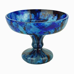 Large Art Deco Blue Bowl by Charles Schneider, 1920s