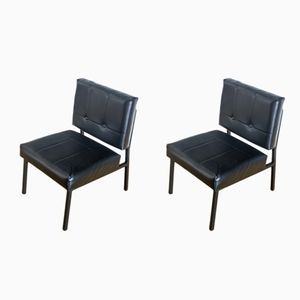 Spanish Black Lacquered Metal Chairs, 1970s, Set of 2