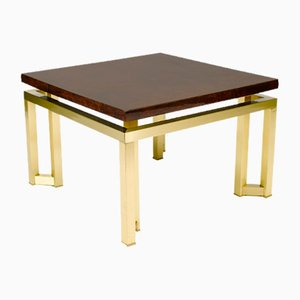 Elmwood and Bronze Side Table, 1970s