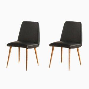 Französische Stühle aus Buche & Skai, 1960er, 2er Set