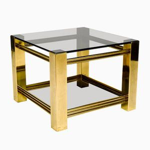 Bronze and Smoked Glass Side Table, 1970s