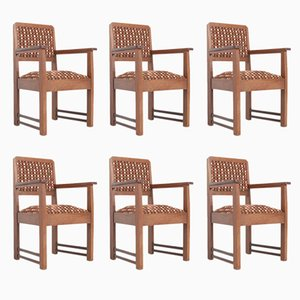 Amsterdam School Oak Armchairs, Set of 6