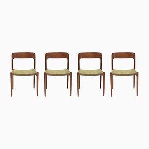 Chaises de Salle à Manger N°75 en Teck N.O. Møller pour J.L. Møller 1960s, Set de 4