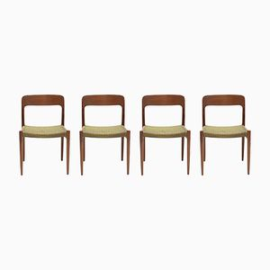 Teak No.75 Dining Chairs N.O. Møller for J.L. Møller 1960s, Set of 4
