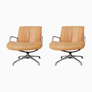 Leather Swiveling Armchairs from Saporiti Italia, 1970s, Set of 2