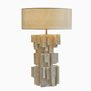 French Sculptural Travertine Table Lamp, 1970s