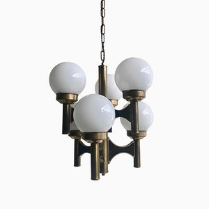 Mid-Century Brass Chandelier with Opaline Globe Shades