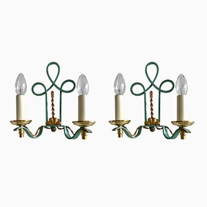 Wrought Iron Wall Lights, 1900s, Set of 2