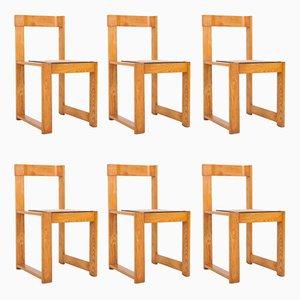 Sillas de comedor asimétricas de pino y mimbre, años 70. Juego de 6