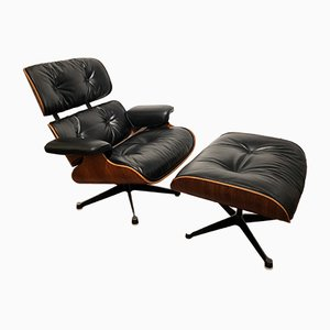 Lounge Chair and Ottoman by Charles & Ray Eames for Mobilier International, 1982
