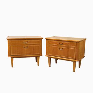 German Cherrywood Nightstands, 1960s, Set of 2