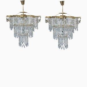 Lampadari Mid-Century in cristallo, anni '60, set di 2