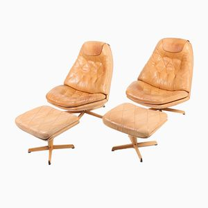 Danish Leather Lounge Chairs by Madsen & Schübel, Set of 2
