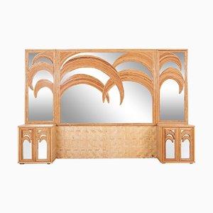 Italienischer Spiegel mit Schränken aus Bambus & Rattan, 1970er