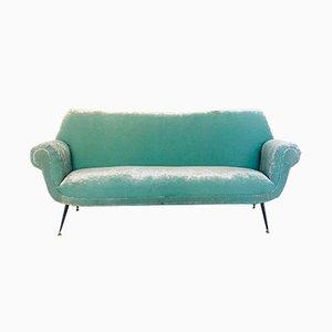 Italian Velvet 3 Seater Sofa, 1950s