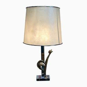 Lampada da tavolo vintage in bronzo argentato
