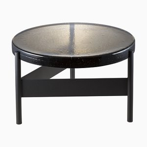 Large Alwa Two 5601G-D Side Table with Smoky Grey Top and Black Base by Sebastian Herkner for Pulpo