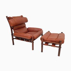 Vintage Inca Chair & Fußhocker von Arne Norell