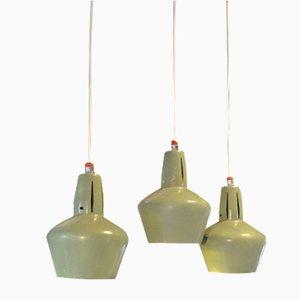 Vintage Aluminum Pendant Lamps, 1950s, Set of 3