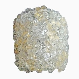 Vintage Glass & Gold Rose Wall Light from Seguso, 1980s