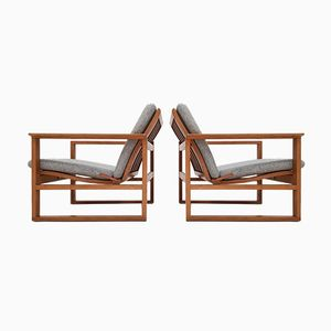 2256 Oak Lounge Sled Chairs by Børge Mogensen for Fredericia, 1960s, Set of 2