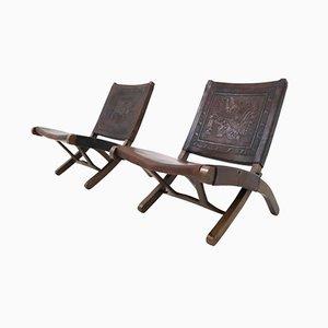 Sedie pieghevoli vintage di Angel Pazmino per Muebles De Estilo, set di 2