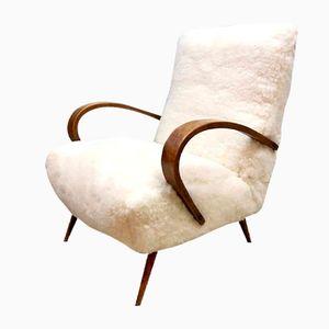 Mid-Century Modern Sheepskin Armchair by Jindrich Halabala