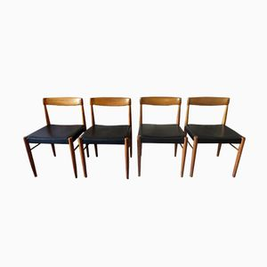 Sedie in palissandro, teak e pelle nera di H.W. Klein per Bramin, anni '60, set di 4