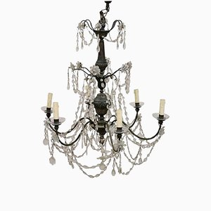 Antique Louis XVI Chandelier in Silver Copper & Crystals, 1780s