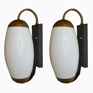 Opaline Glass and Brass Wall Lamps, 1940s, Set of 2