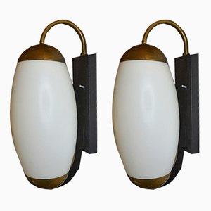 Wandlampen aus Opalglas & Messing, 1940er, 2er Set