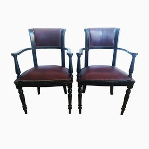 Antique Maroon Armchairs, Set of 2